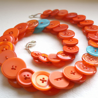 Orange with aquamarine button necklace FREE UK SHIPPING