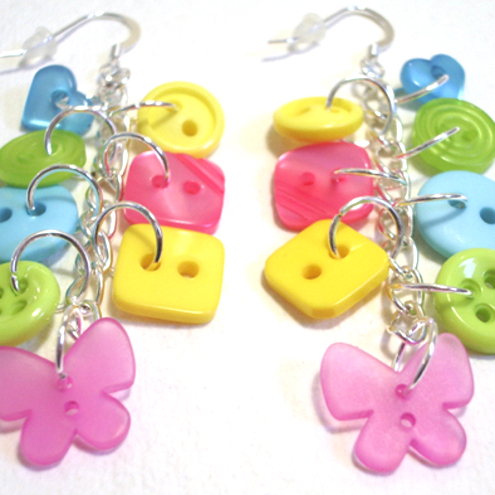 SALE Lime,Pink,Yellow & Aqua button sterling silv drop earrings FREE UK SHIPPING