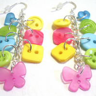 Lime,Pink,Yellow & Aqua button sterling silv drop earrings FREE UK SHIPPING