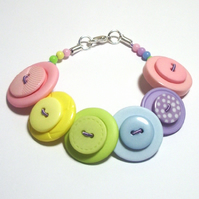 Pastels Green, Pink, Lilac, Yellow & Blue button bracelet FREE UK SHIPPING