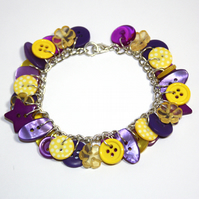SALE Yellow and Purple button charm bracelet FREE UK SHIPPING