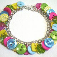 SALE Lime Green, Hot Pink, Yellow & Aqua button charm bracelet FREE UK SHIPPING