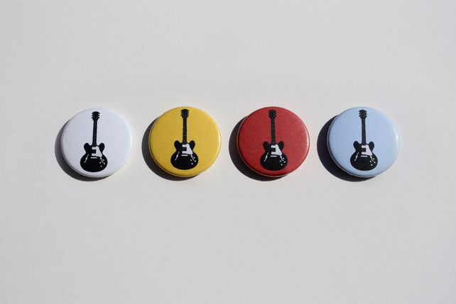 Guitar Pin Badges & Bookmark Set