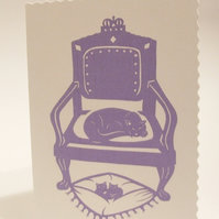 Paper cut design Mothers' Day card - Cat on her throne