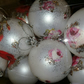 Shabby Chic glittered floral baubles