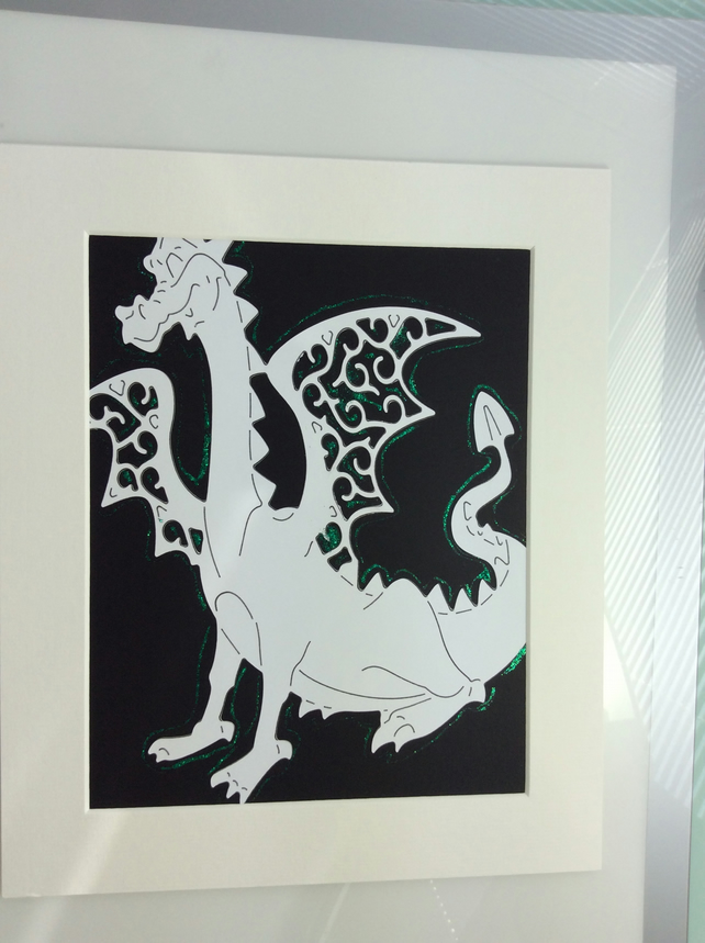 Gordon the dragon, paper cut art