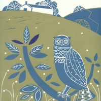"""Dales Guardian"" -Owl, Limited Edition Original Lino Print by Giuliana Lazzerini"