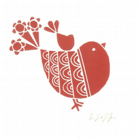 Red Robin Mounted Lino Print - Child Gift - Original Print Signed