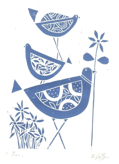 Blue Birds - Original Linocut Print by Giuliana Lazzerini