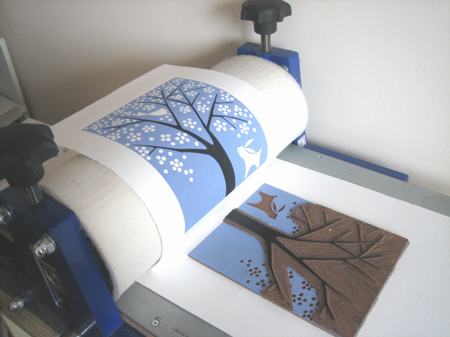 White Tree - Spring Blossom linocut by The Bluebird Gallery on Folksy