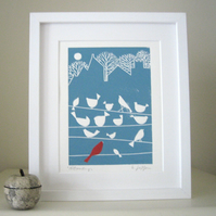 Birds on a Wire  Mounted Linocut - Lino Print - Teal and Red