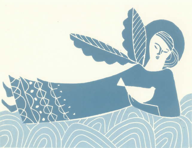 Angel and Bird of Peace- Original Lino Print by Giuliana Lazzerini