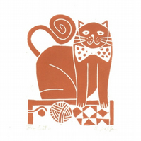 Ginger Cat - Linocut Original  by Giuliana Lazzerini