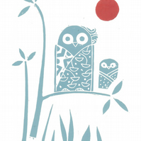 Owls Linocut Woodland Animals Original Print Teal Red