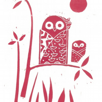 Owls Lino Print - Red - Owl Lover Gift - Original Linocut