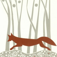 Red Fox Linocut - Autumn Woodland - Animal Lover Gift