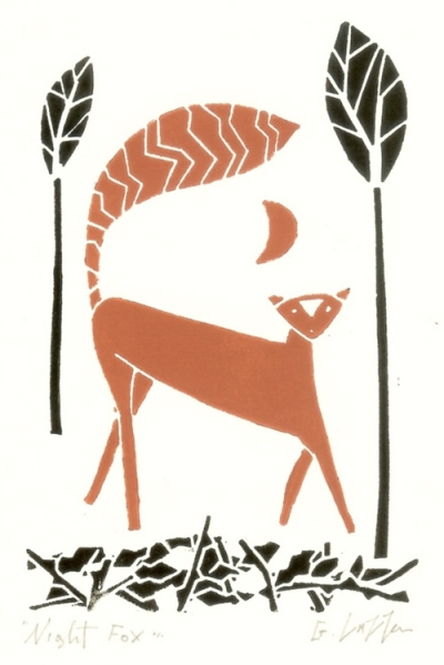 Red Fox Lino Print Original Linocut Print