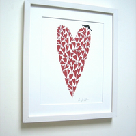 Red Love Heart & Love Birds Original Linocut Hand Printed