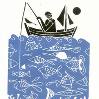 Fisherman Gift - Lino Print - Hand Printed Blue Linocut Mounted