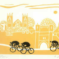 Tour De France - Mounted Print,Tour De Yorkshire - York ,Bicycle,Cyclist Gift.