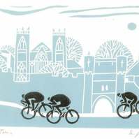 Cycling Art -Tour de Yorkshire -York Lino Print - Bicycle Linocut Print