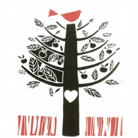 Love Song - Christmas - Valentine - Anniversary Gift Linocut - Woodland Tree