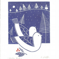 Winter Love Birds Lino Print -Doves - Snow -Blue Art Print