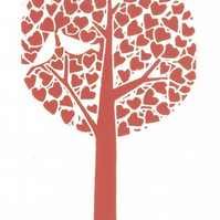 Love Tree Red - Mounted White Doves Lino Print -  Wedding  Anniversary  Gift
