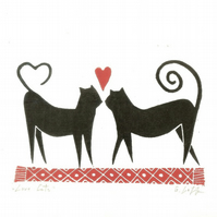 Gift For Cats Lovers - Valentines Lino Print - Love Gift- Original Linocut Print