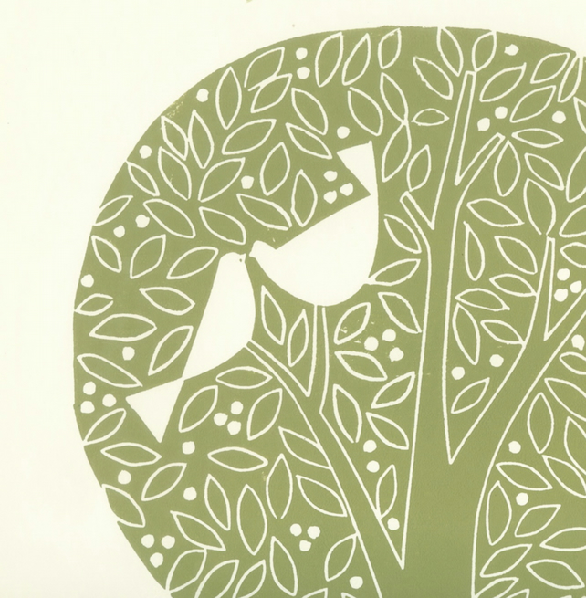 Love Tree - Tree of Life - Nature Lover Gift - Large Linocut Print - White Doves