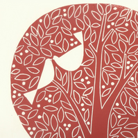 Anniversary Gift - Love Garden - Large Red Tree - Valentines Gift - Love Birds