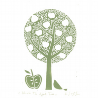Apple Tree Lino Print - Original Linocut Print Signed Giuliana Lazzerini