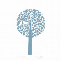 Love Tree Lino Print - Blue - Anniversary or Wedding Gift