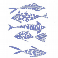 Blue Fishes Linocut Mounted Original Print by Giuliana Lazzerini
