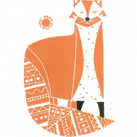 Red Fox Lino Print - Oiginal Gift - Signed Linocut
