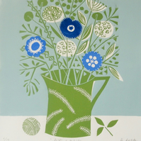 Pot of Flowers - Lino Print Limited Edition of only 15 Original Artist Linocut