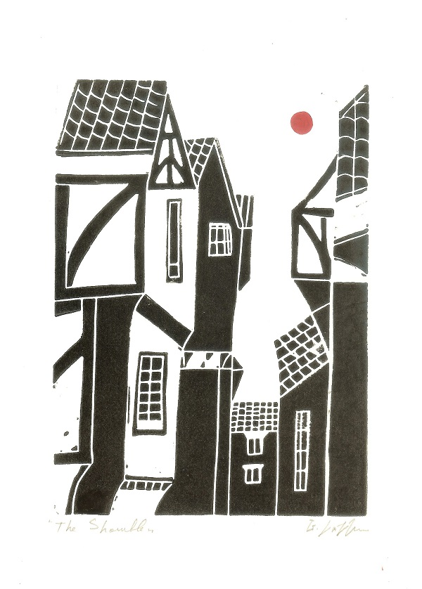 The Shambles-York- Linocut - Lino Print by Giuliana Lazzerini