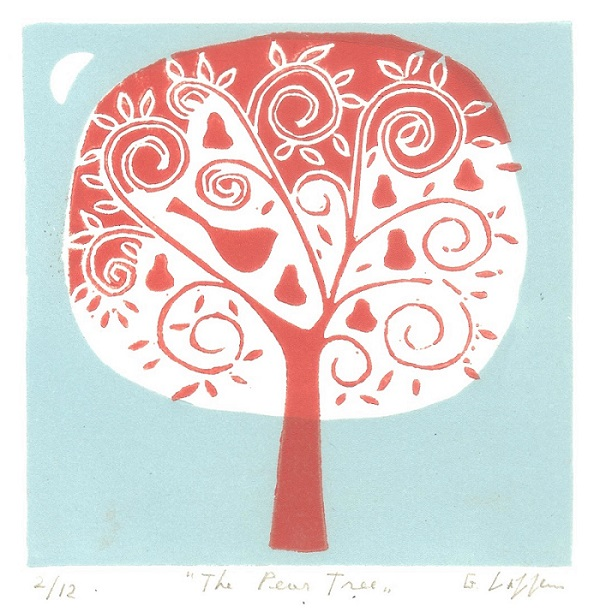 Pear Tree Lino Print - Limited Edition Mounted Linocut by Giuliana Lazzerini