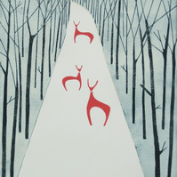 Deer in Winter LARGE Limited Edition Linocut - Modern Woodland Lino Print