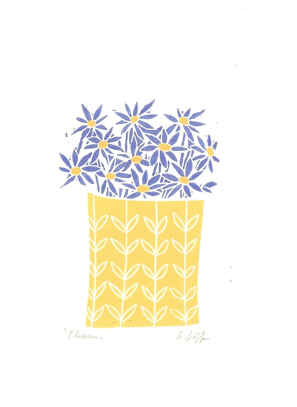 Vase of Flowers,Mounted Lino Print - ThanK You Gift - Original Linocut Signed