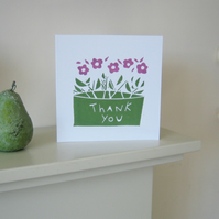 Hand Printed Card - Thank You Card - Flowers Original Linocut - Blank .