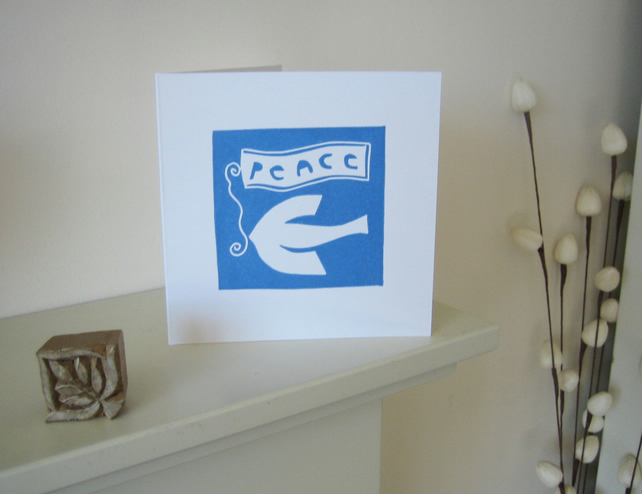 Dove of Peace Hand Printed Card,Lino Print - Original Linocut - Blank .