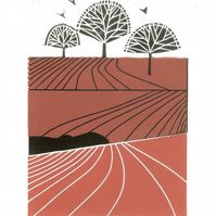 Autumn Fields Lino Print Limited Edition of 12 only - Magical Yorkshire Linocut