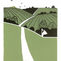 Summer Fields Lino Print Limited Edition of 12 only - Magical Yorkshire Linocut