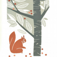 Red Squirrel Linocut Print - Limited Edition -  Magical Autumn Tree