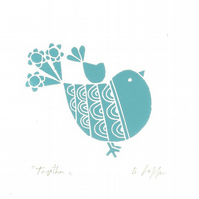 Robin Lino Print  - Mothers Day Gift - Birds lover Gift - Original Print Signed