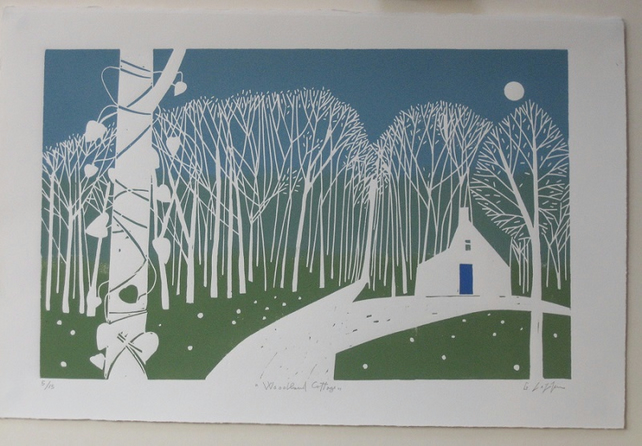 White Cottage Landscape Linocut - Large Original  Print by Giuliana Lazzerini