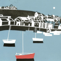 Harbour & Boats Lino Print - Sea Lover  Gift - Original Print Signed