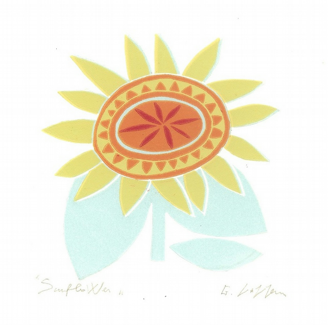 Sunflower - Single Flower  - 70s Style Linocut Print - Retro