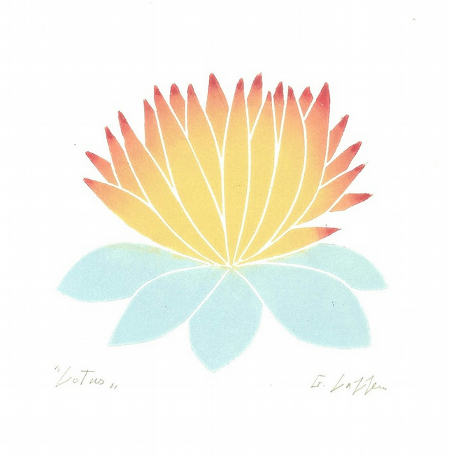 Lotus - Single Flower - Mothers Day Gift - 70s Style Linocut Print - Retro
